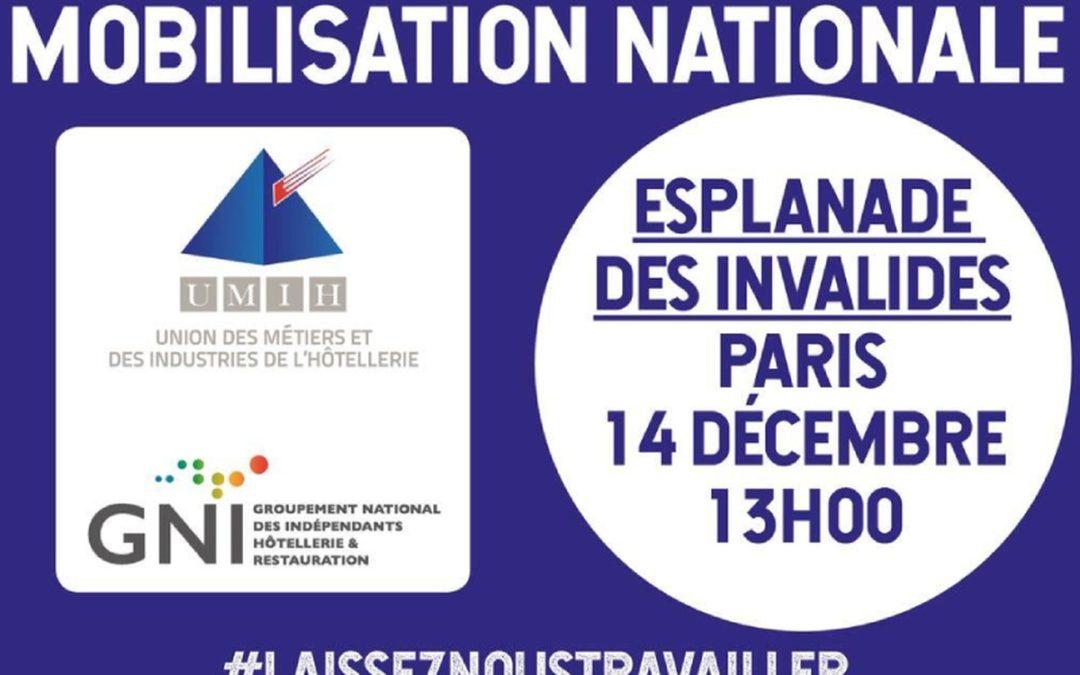 Les filières HCR et Événementiel mobilisées :  ensembles le 14 décembre 2020 – Esplanade des invalides – Paris